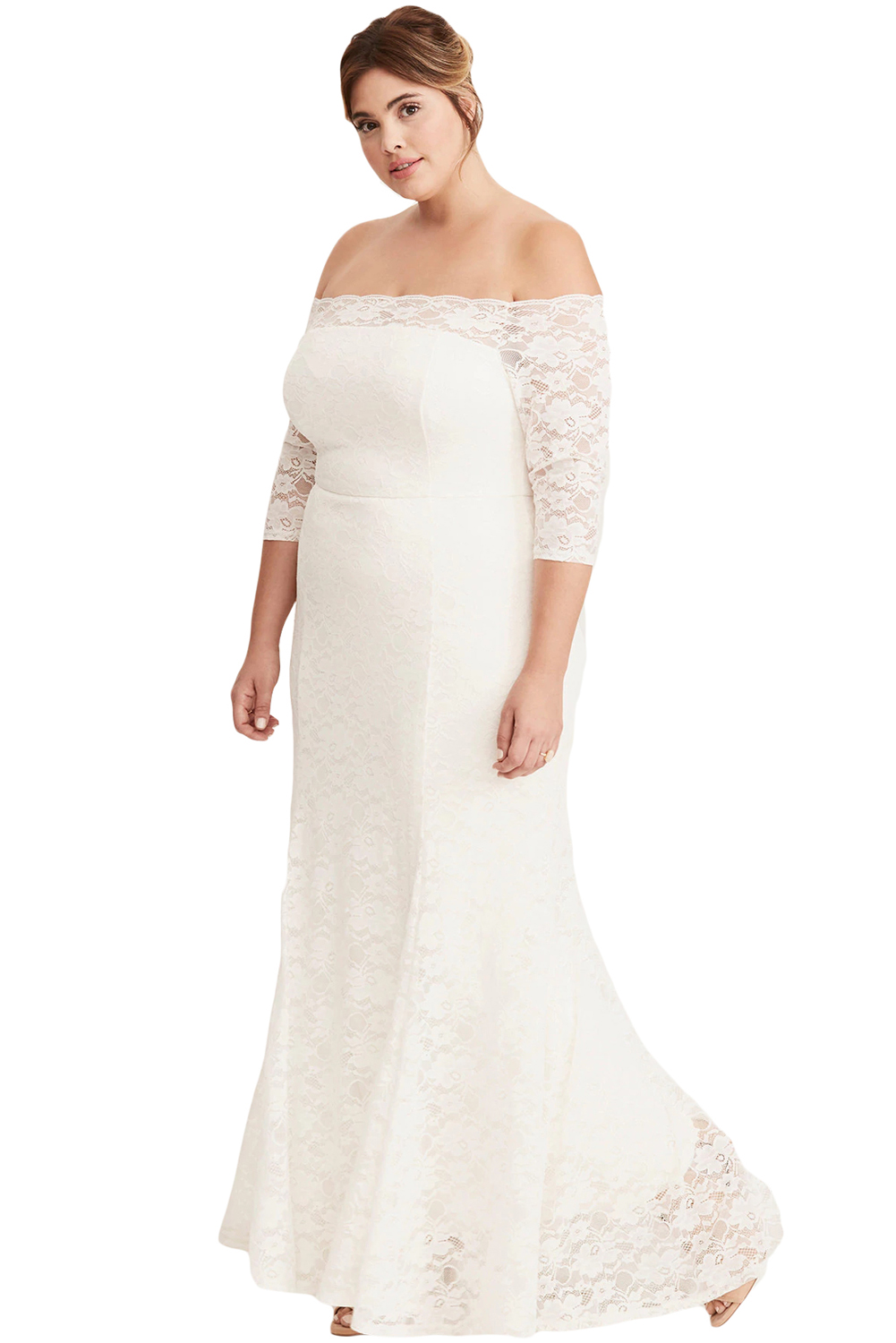 White Plus Size Lace Off Shoulder Party Maxi Dress