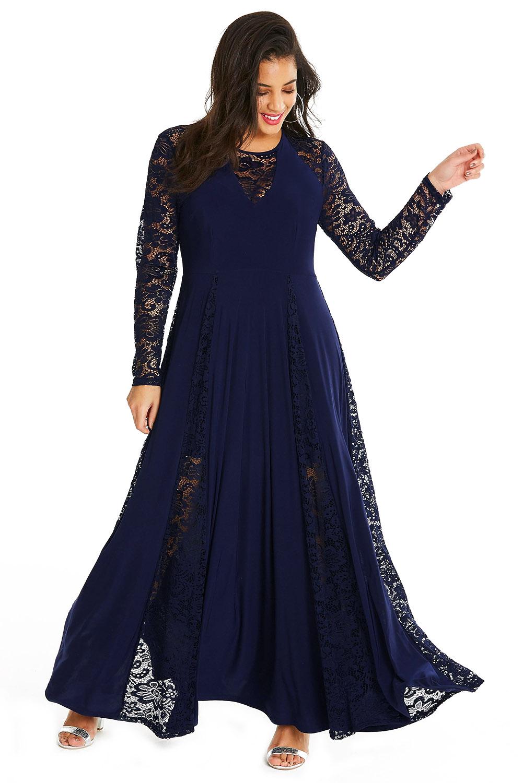 Blue Night Lace Insert Plus Size Maxi Dress