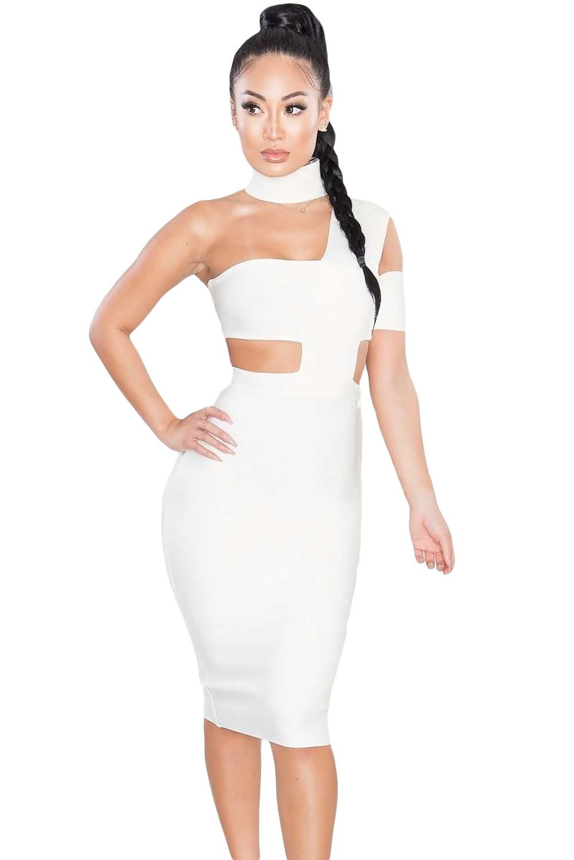 3b5ec6dc5b08 Gargantilla sexy blanca cuello vestido de fiesta vendaje