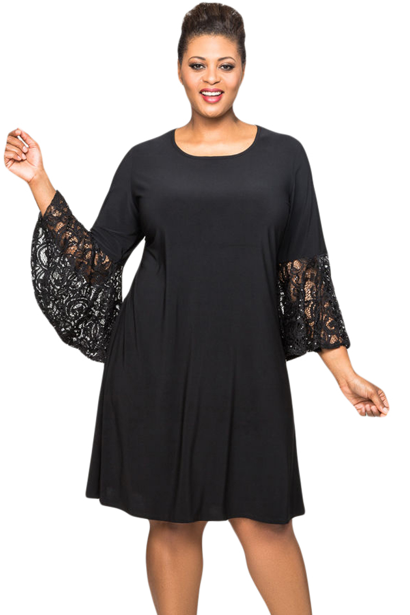Black Sequin Lace Bell Sleeve Plus Size Mini Dress