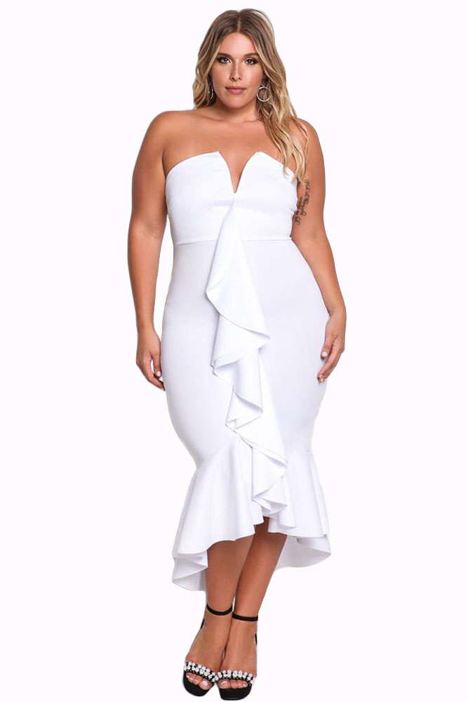 White Plus Size Strapless Cascading Ruffle Hi-Lo Dress