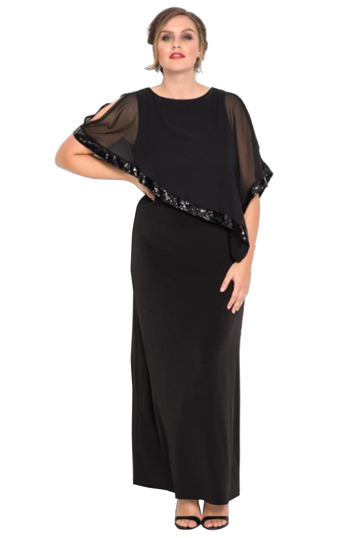Black Plus Size Cold Shoulder Sequin Mesh Poncho Maxi Dress