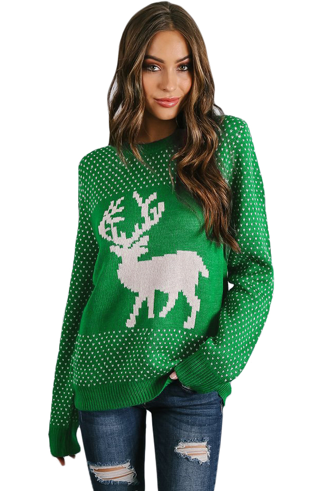 Green Day Christmas Sweater.Snowy Day Reindeer Green Christmas Sweater