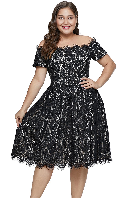 Black Short Sleeve Off-shoulder Lace Plus Size Dress