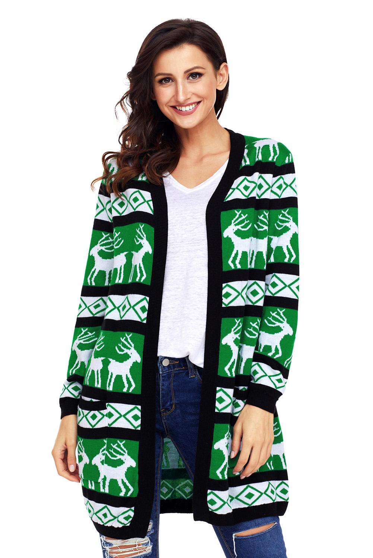 Christmas Cardigan.Black Green Reindeer Geometric Christmas Cardigan