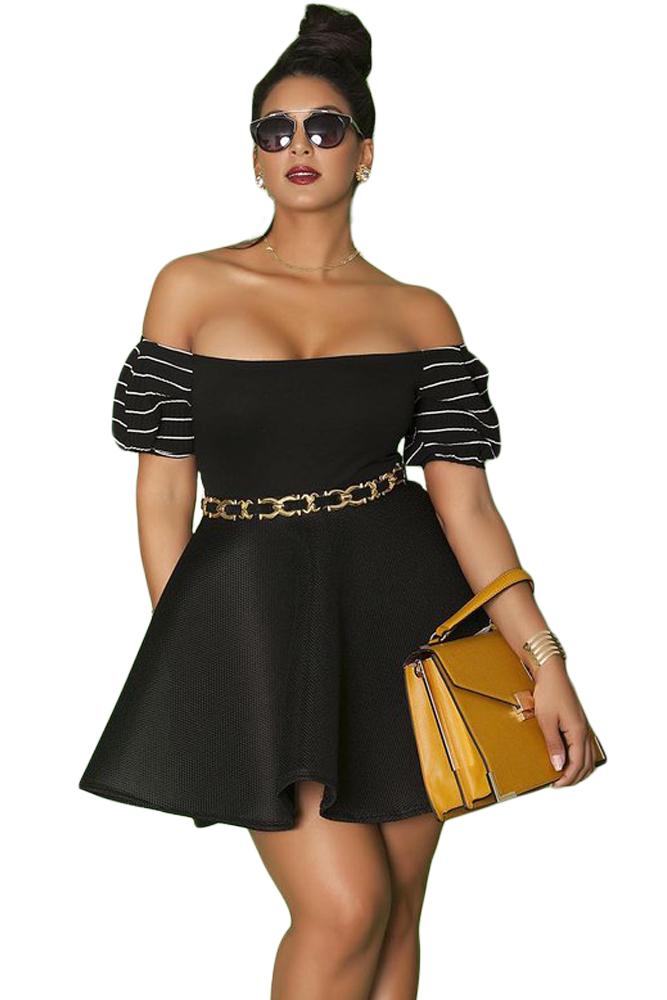 Black Plus Size Pleated Off-the-shoulder Skater Dress
