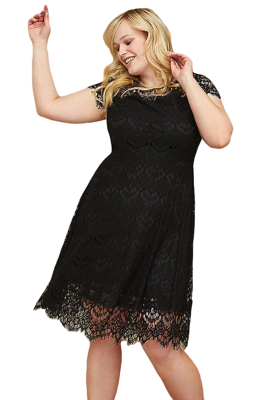 Black Plus Size Back Cutout Lace Fit Flare Dress