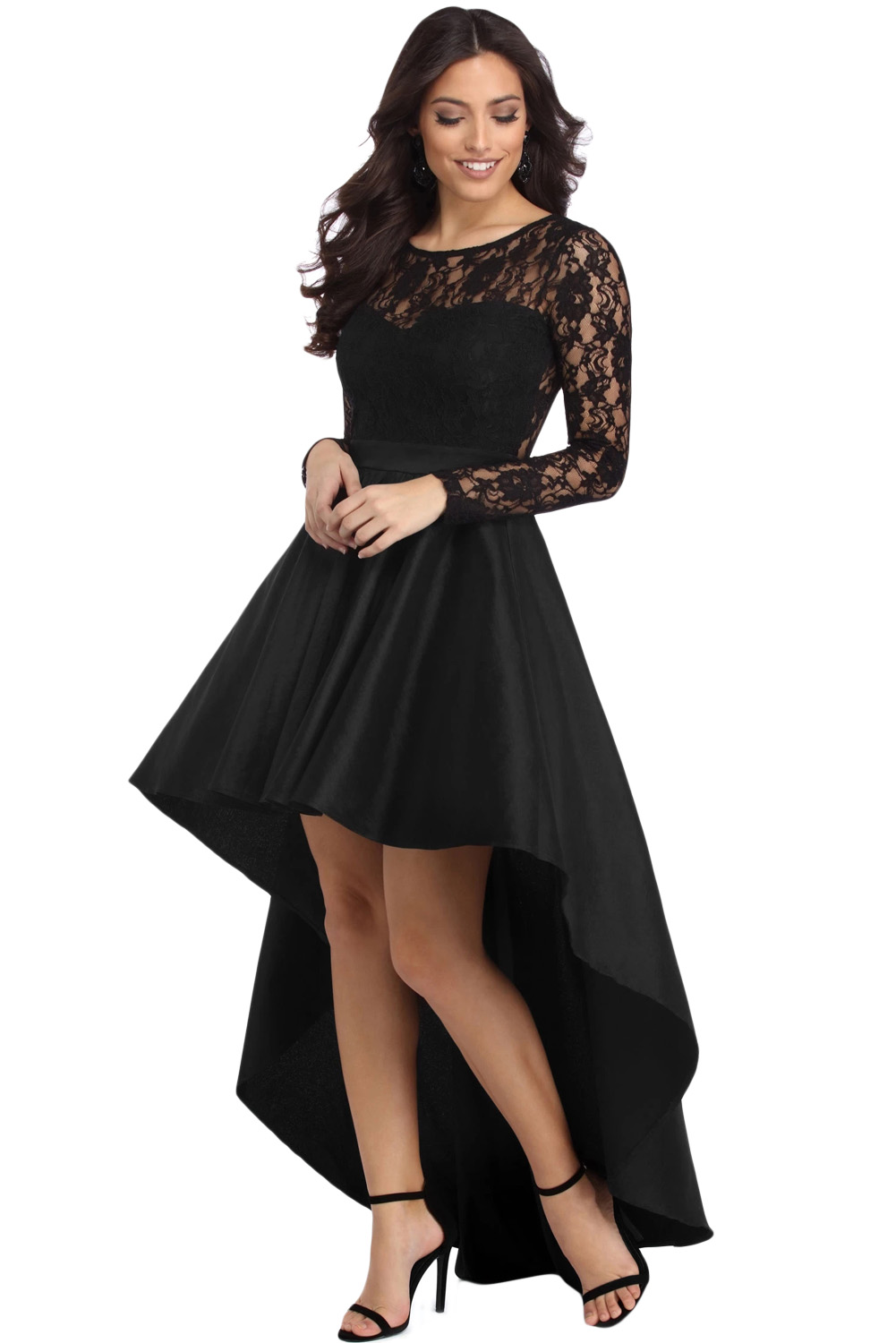 4a14899ca7 US$7.4 Black Long Sleeve Lace High Low Satin Prom Dress