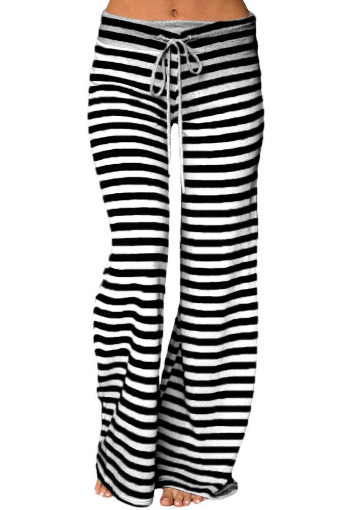 64ec41a3b793 Wholesale Fashion Black White Striped Wide Leg Pants