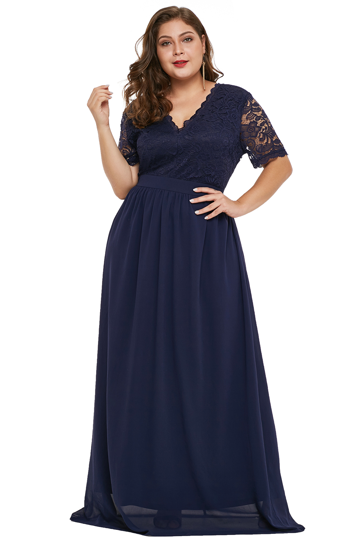 Blue Plus Size Chiffon Evening Party Maxi Dress