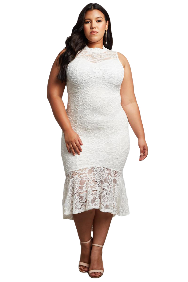 White Lace High Low Plus Size Party Dress