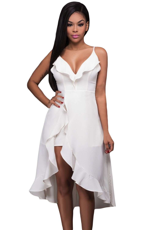 Vestido Ruffle Branco Alto Baixo