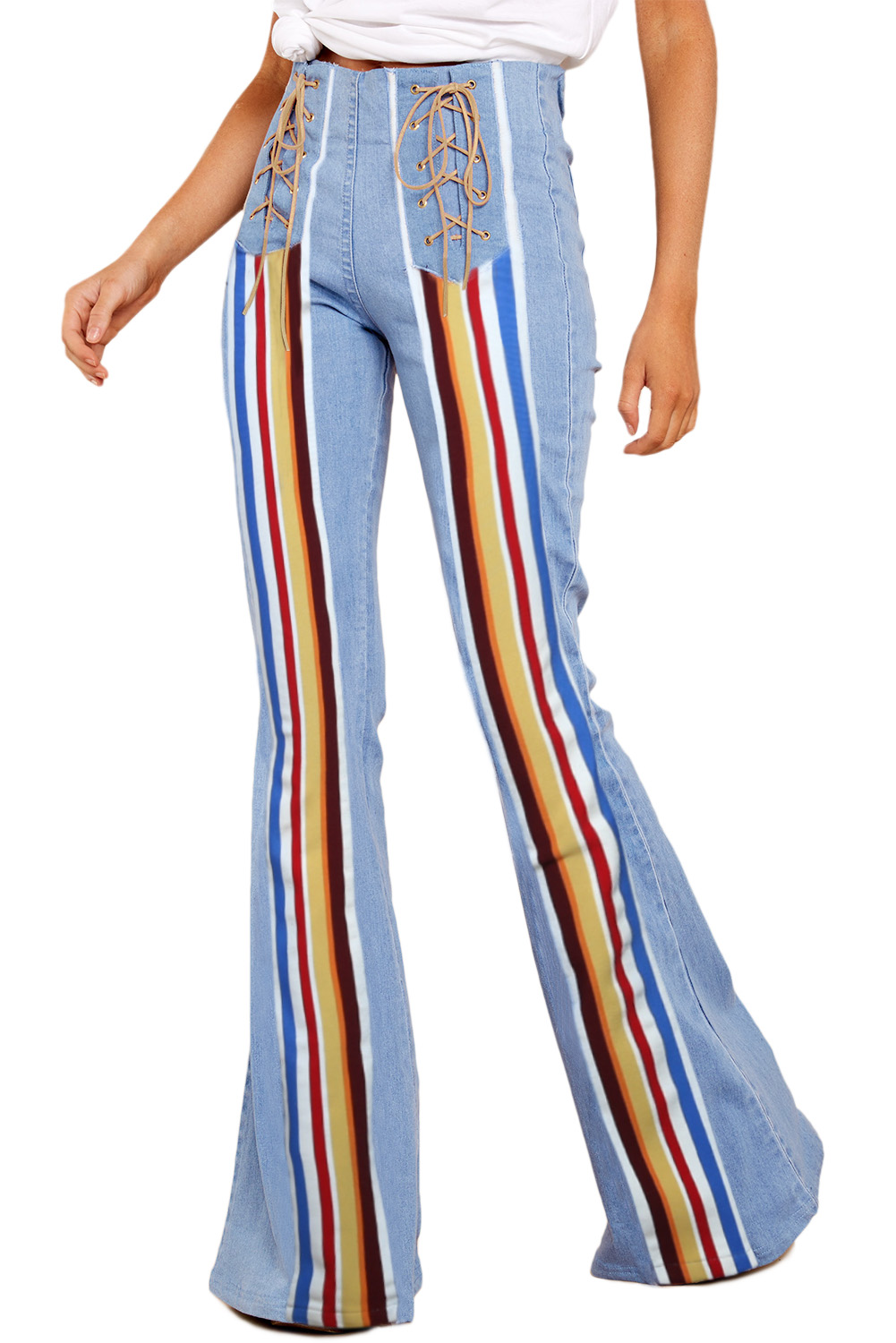 official images purchase authentic coupon codes Sky Blue Bring On The Peace Dark Denim Flare Jeans