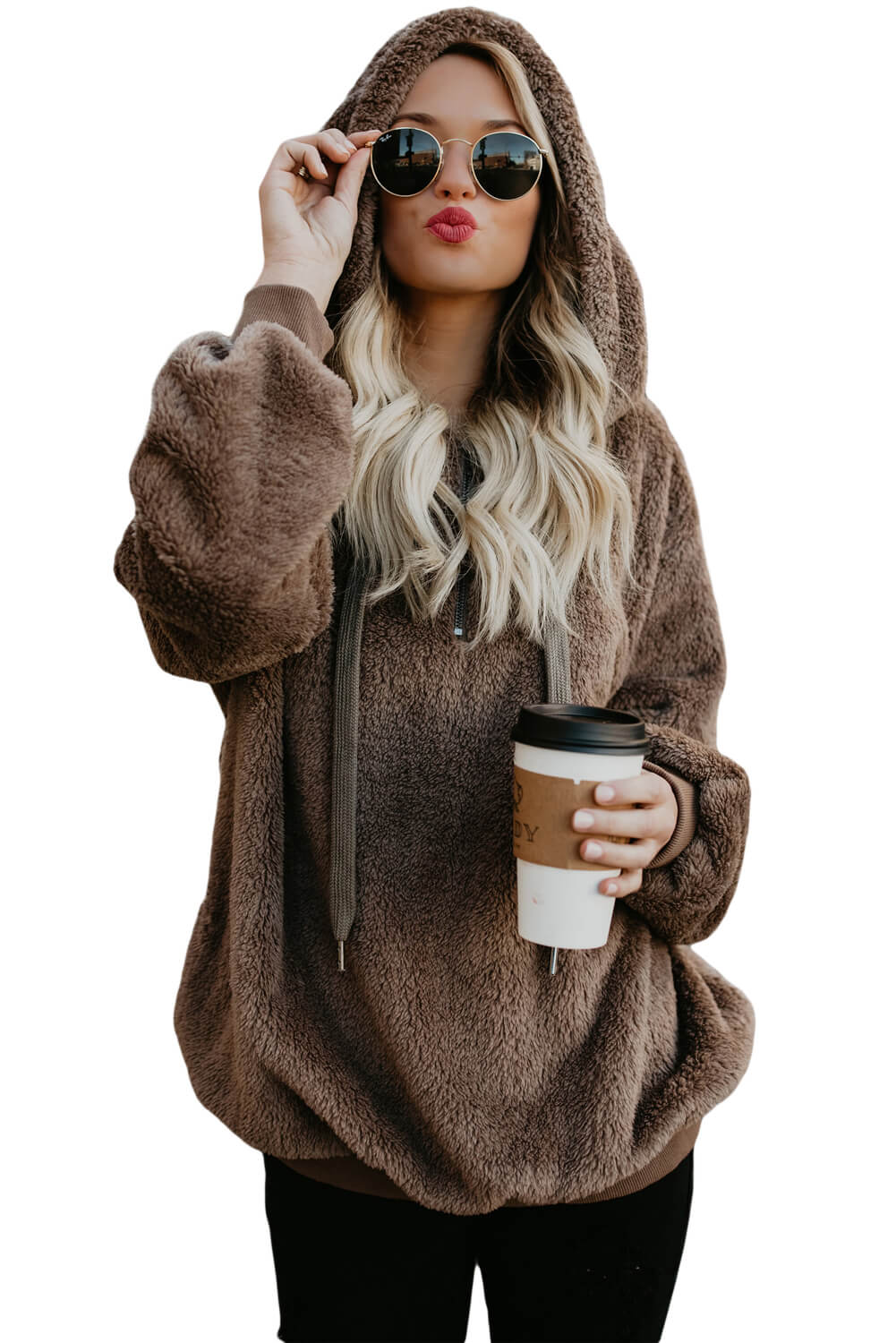 wholesale dealer 161be 3d4e2 Brown Warm Furry Pullover Hoodie