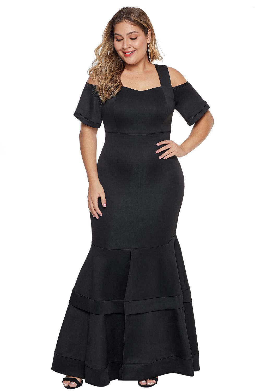 Black Cold Shoulder Plus Size Mermaid Dress