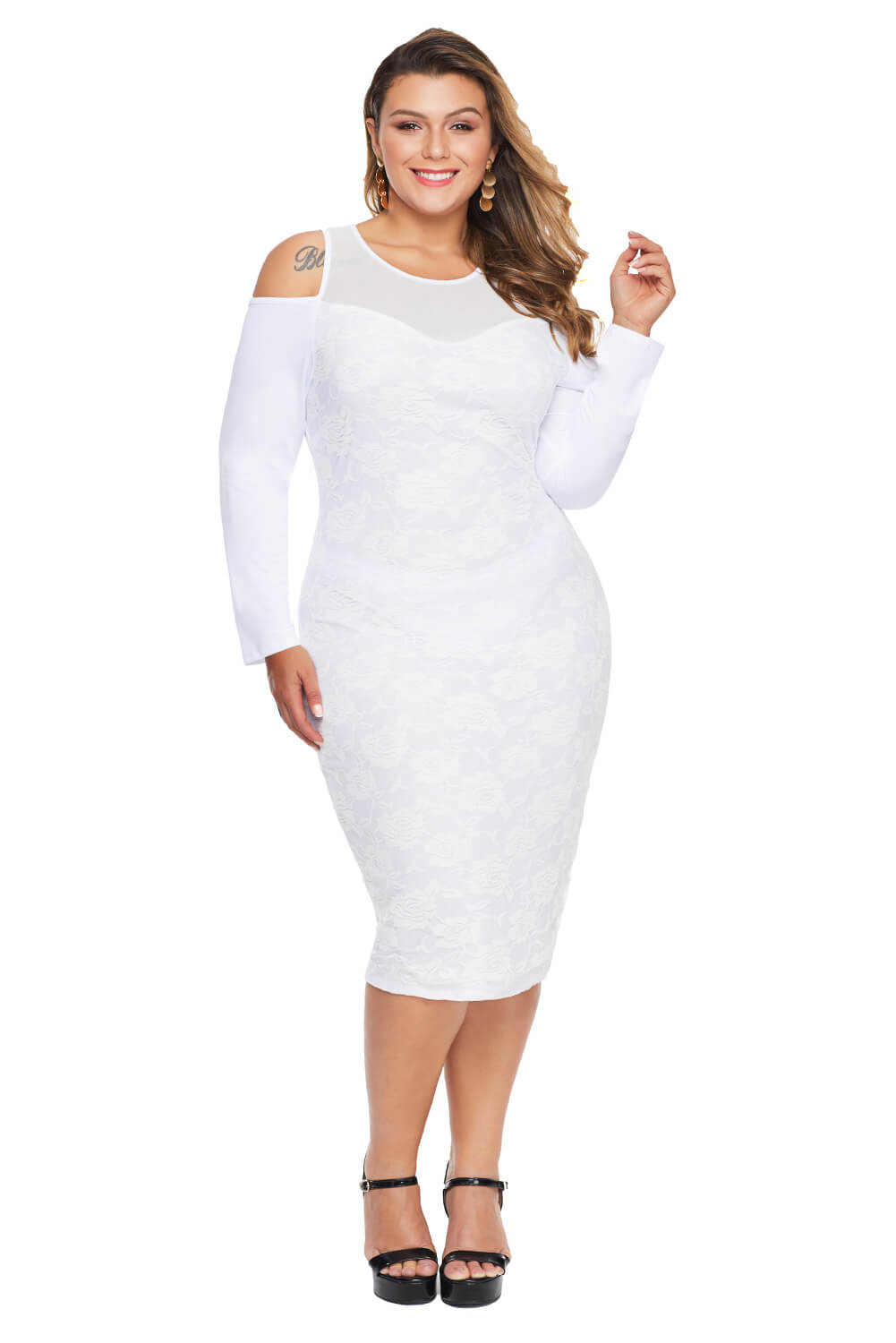White Cold Shoulder Mesh Yoke Plus Size Dress