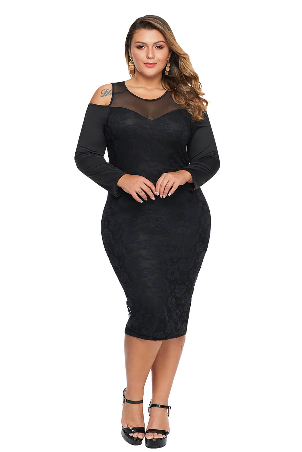 Black Cold Shoulder Mesh Yoke Plus Size Dress