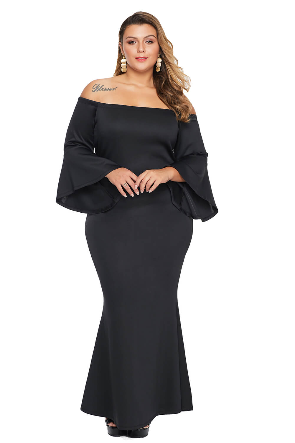 Black Plus Size Off Shoulder Flare Sleeve Maxi Dress