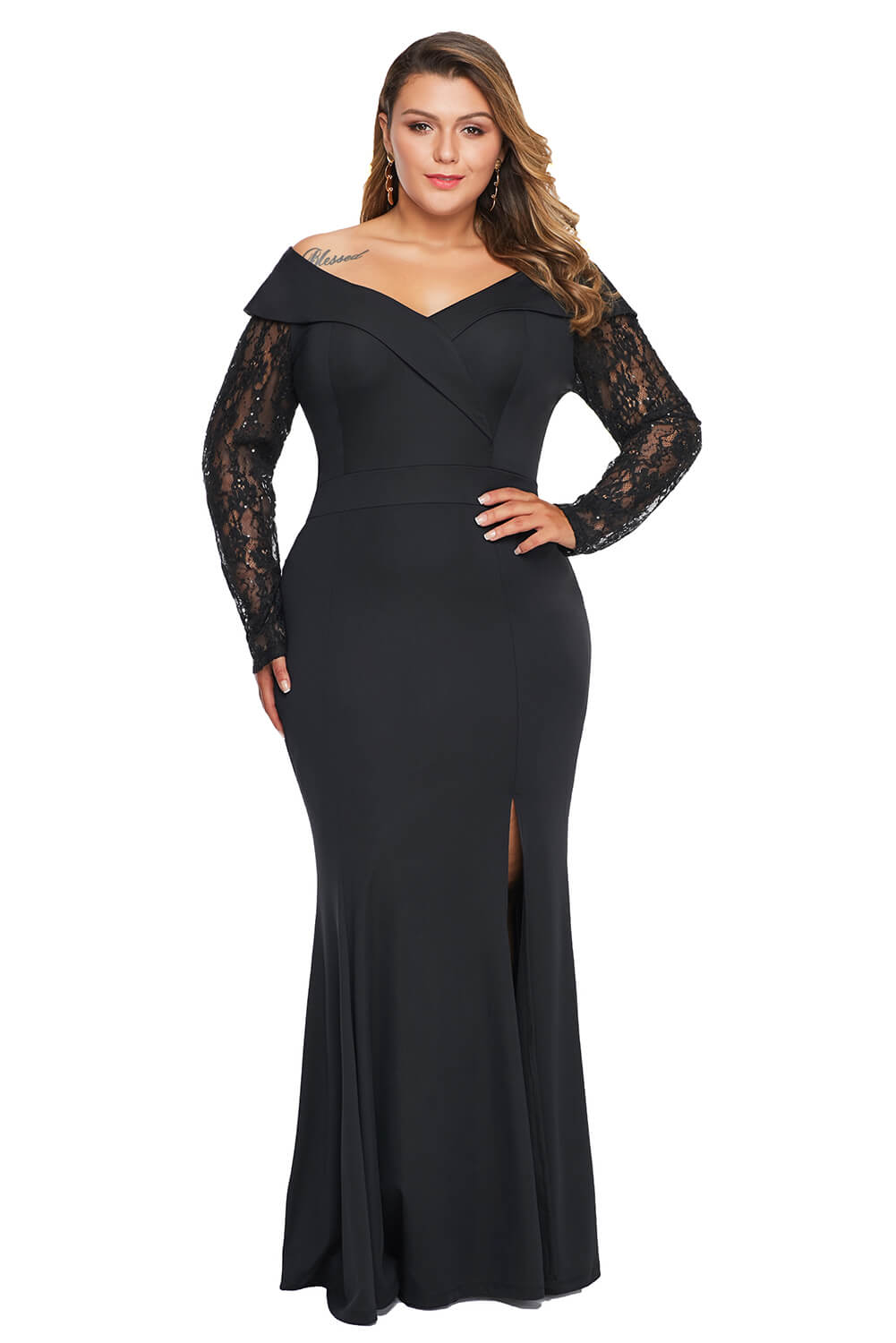 Beaded Lace Sleeve Off Shoulder Plus Size Gown