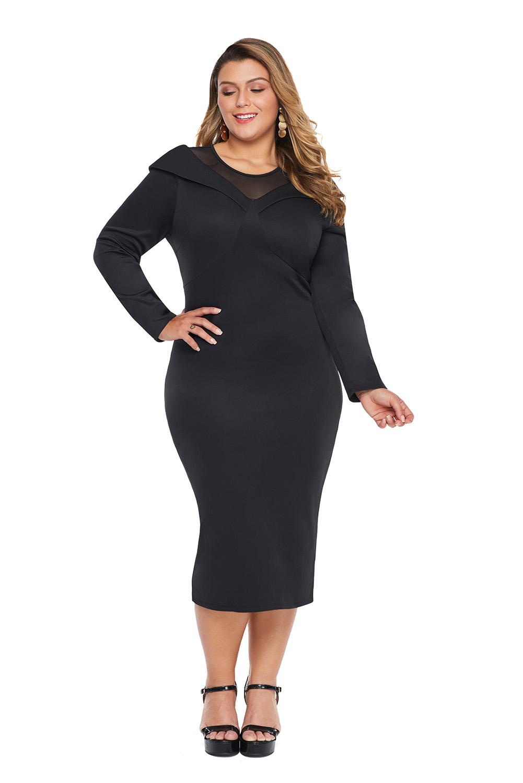 Black Mesh Neck Patchwork Plus Size Midi Dress
