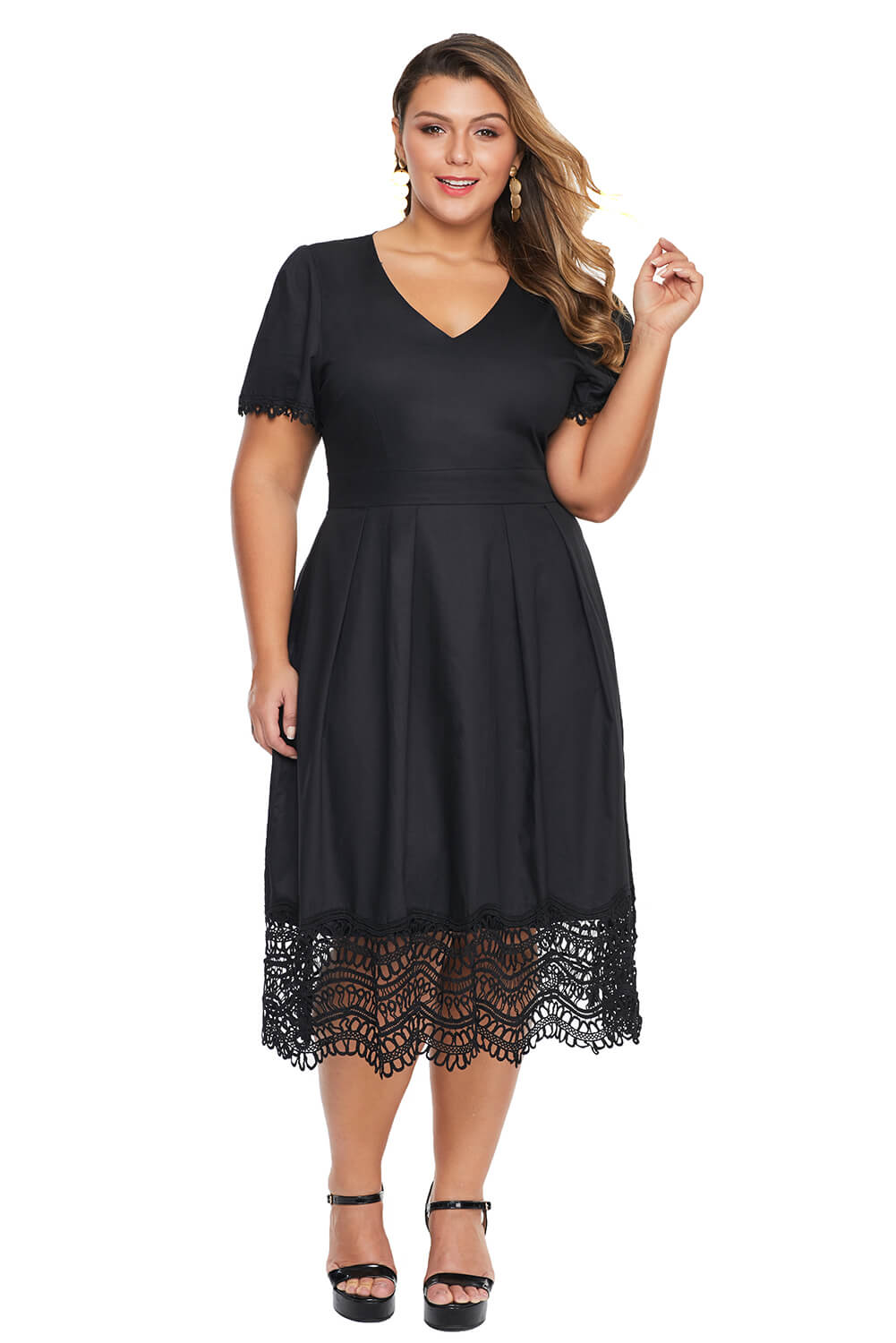 Lace Hemline Pleated Plus Size Dress
