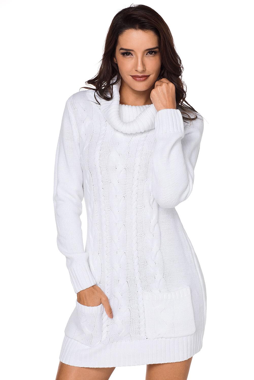 weißes strickkleid mit rollkrage damen