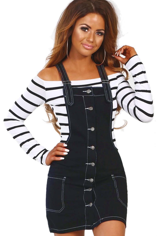 release date: large assortment exclusive shoes Black Stretch Denim Mini Jumper Dress