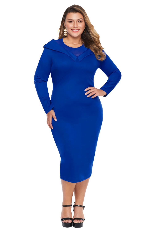 Blue Mesh Neck Patchwork Plus Size Midi Dress