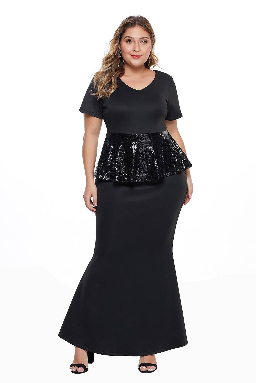 Sequin Peplum Waist Plus Size Gown