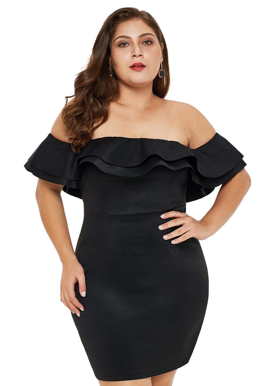 Black Layered Ruffle Off Shoulder Plus Size Dress
