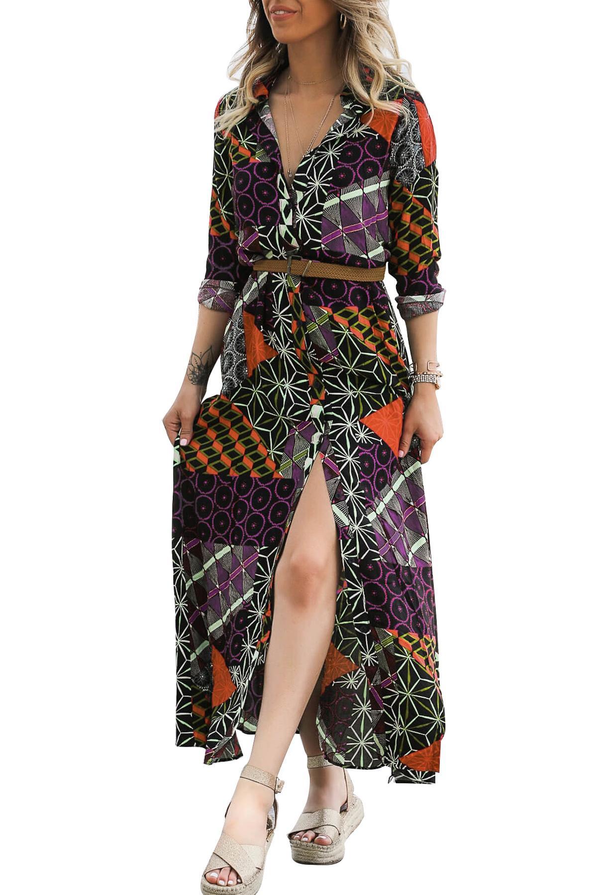 gamme exclusive 100% haute qualité chaussures de séparation Robe longue noire avec imprimé Boho et ceinture de Chine