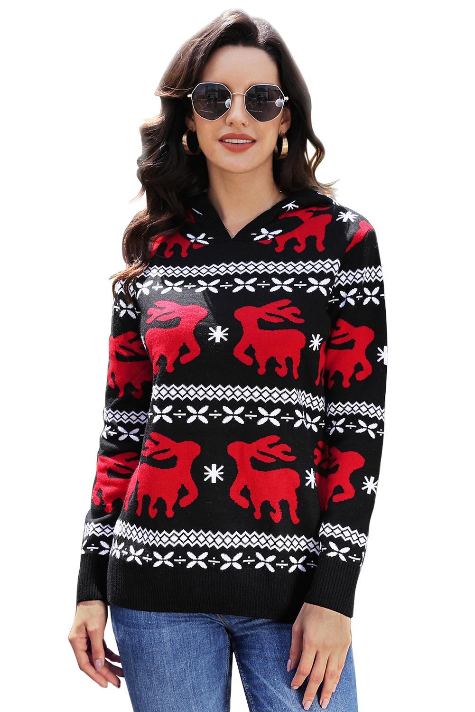 Details zu Rote weihnachtsren strickjacke sweatshirt pullover damen