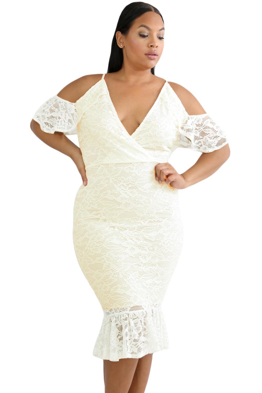 White Plus Size Cold Shoulder Lace Bodycon Dress