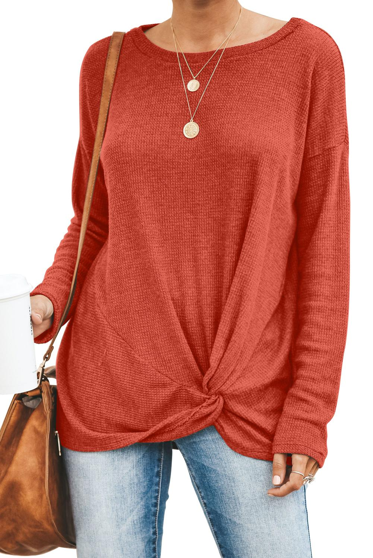 Tops et tees en gros, rouge solide tricoté