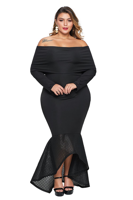Black Overlay Off Shoulder Fishtail Plus Size Maxi Dress