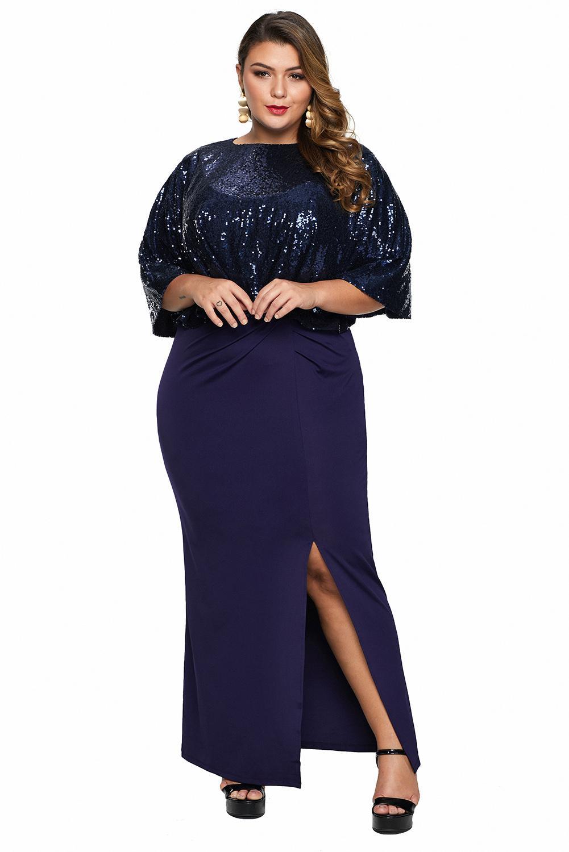Blue Sequin Cape Plus Size Maxi Dress