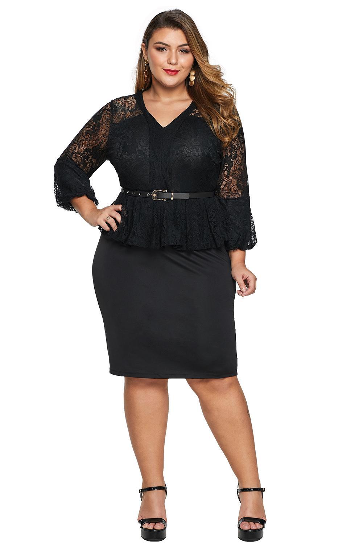 Black Plus Size Lace Bodice Peplum Dress with Belt