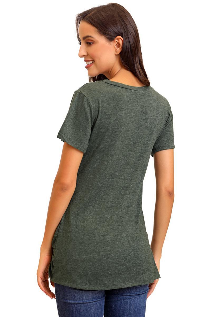 Women Casual O Neck Short Sleeve Button Pocket Solid T-shirt Tops EA9