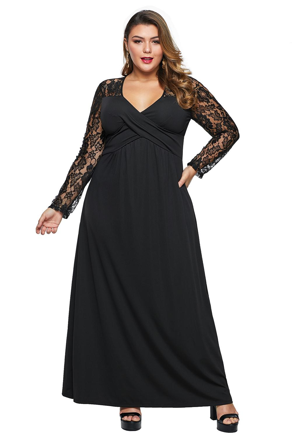 Black Lace Sleeve Cross Wrap Bust Ruched Back Plus Size Dress