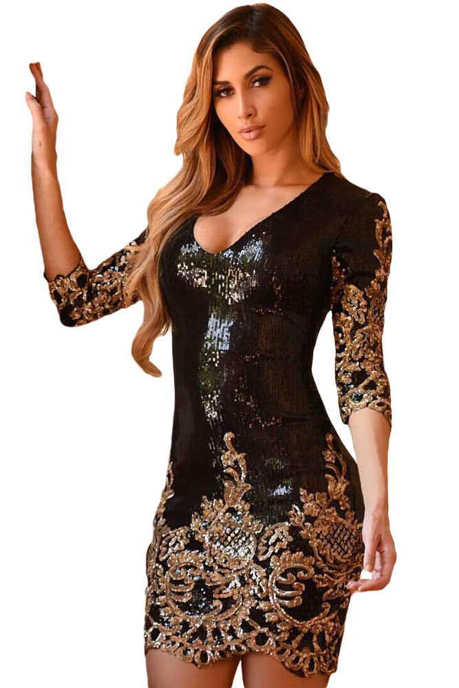 8c20af92cee7ca Sexy Black Victorian Gold Sequins 3/4 Sleeves Bodycon Dress