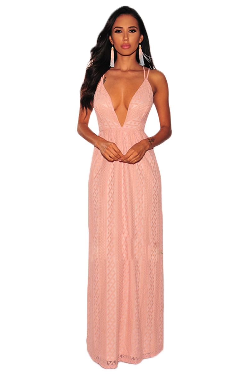 Stylish Pink Nude Illusion Crisscross V Neck Evening Dress