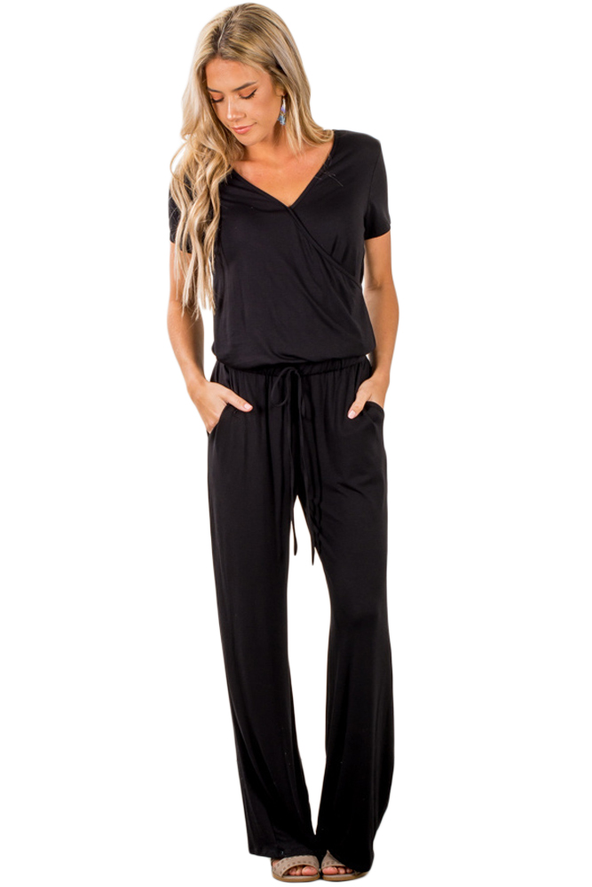 Just US$7.98 Black Casual Lunch Date Jumpsuit