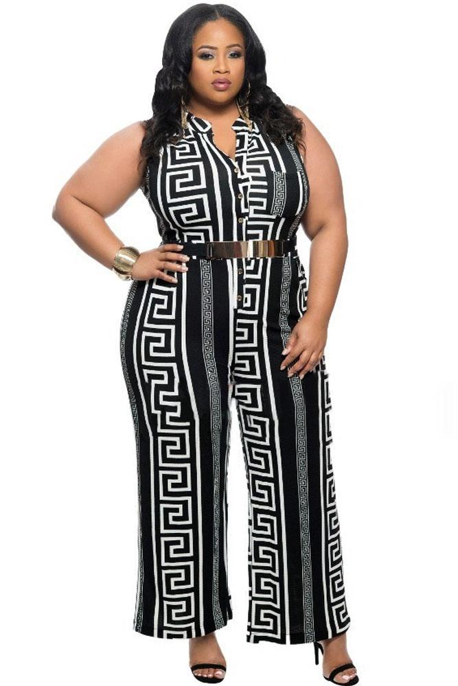 Cheap Fashion Plus Size Black Print Gold Belted Jumpsuit