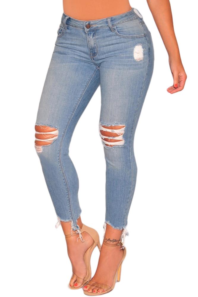 Cortado jeans tornozelo
