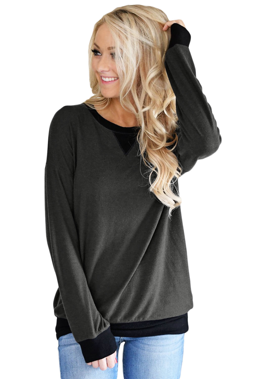 Wholesale Sweatshirts Amp Hoodies Cheap Charcoal Raglan