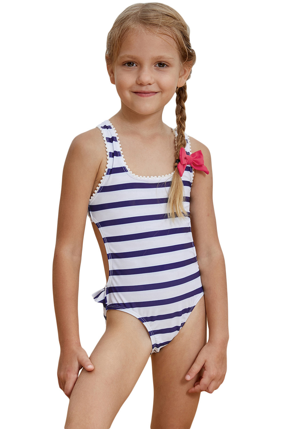 Wholesale Girls Swimsuits Cheap Navy Blue Striped Cross