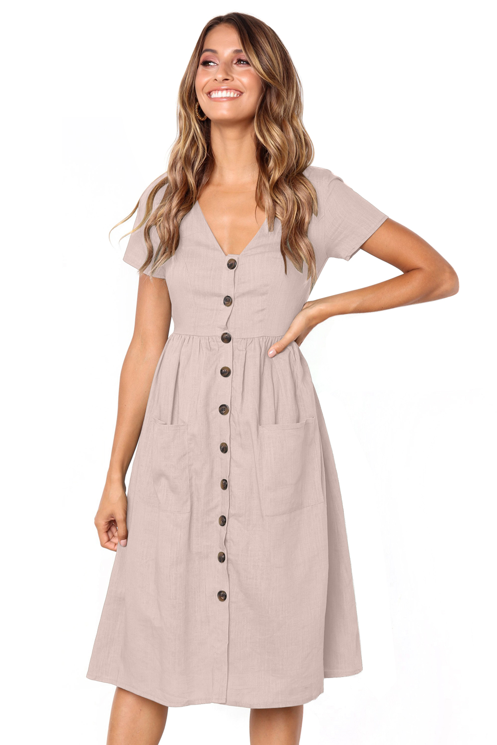 Dear-Lover Pink Stylish Button Front Midi Dress with Pockets