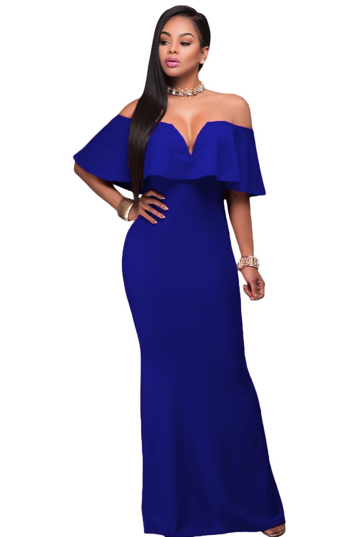 Women In Royal Blue Ruffle Off Shoulder Maxi Party Dress