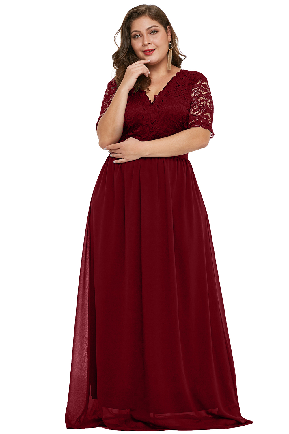 Wholesale Plus Size Dresses Cheap Red Plus Size Chiffon