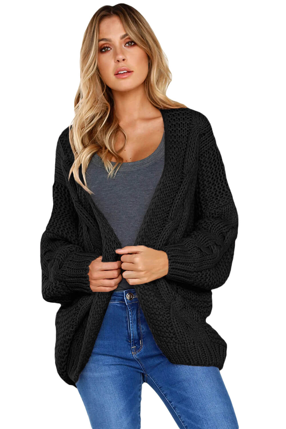 China Black Chunky Wide Long Sleeve Knit Cardigan Online